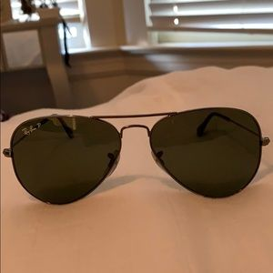 Ray-Ban Polarized Aviators- Black